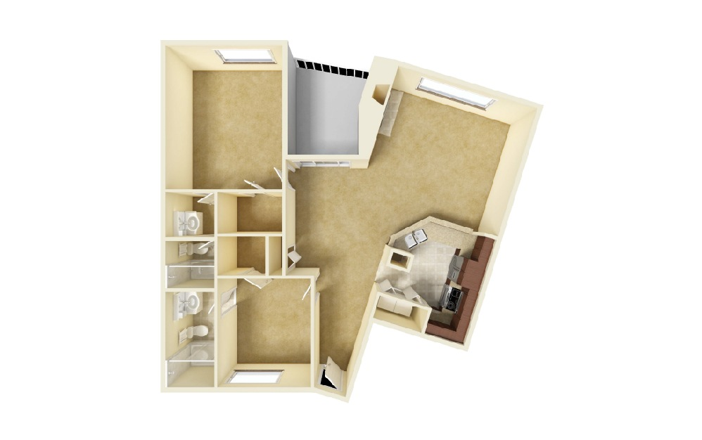 Atelier - 2 bedroom floorplan layout with 2 baths and 1158 square feet.