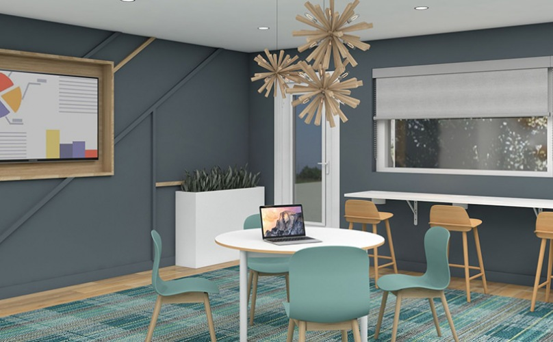 Rendering of the tech lounge