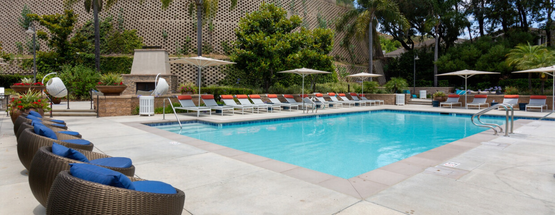 spacious pool with ample seating