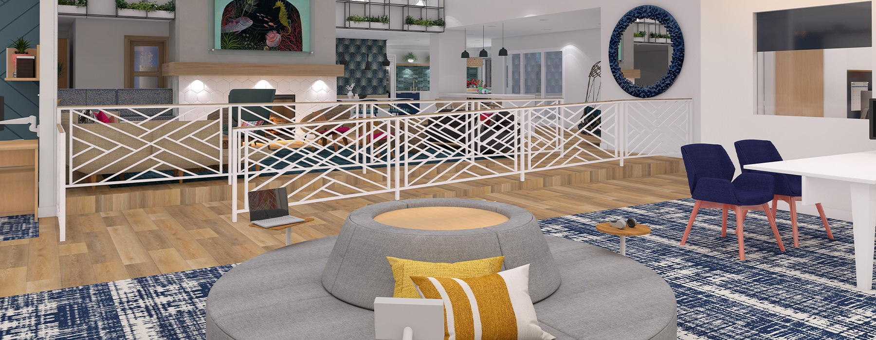 Spacious and well lit clubhouse with plenty of seating to hang out or work from home